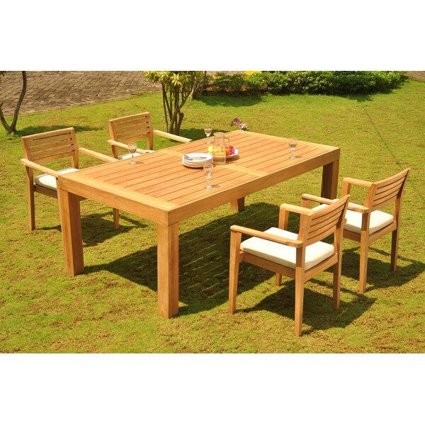 Bernardo 5 Piece Teak Dining Set by Rosecliff Heights