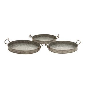 Metal Galvanized 3 Piece Serving Tray Set