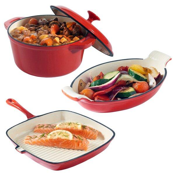 3-Piece Non-Stick Cast Iron Cookware Set by VonShef