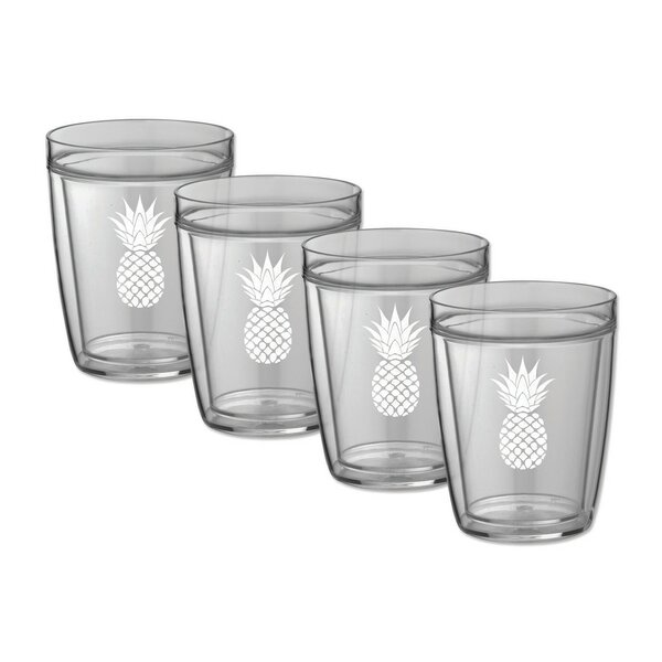 Milburn Pineapple Doublewall 14 oz. Plastic Every Day Glass (Set of 4) by Bay Isle Home