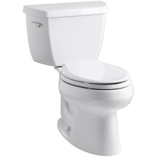 Wellworth Classic Two-Piece Elongated 1.28 GPF Toilet with Class Five Flush Technology, Left-Hand Trip Lever and Tank Cover Locks by Kohler