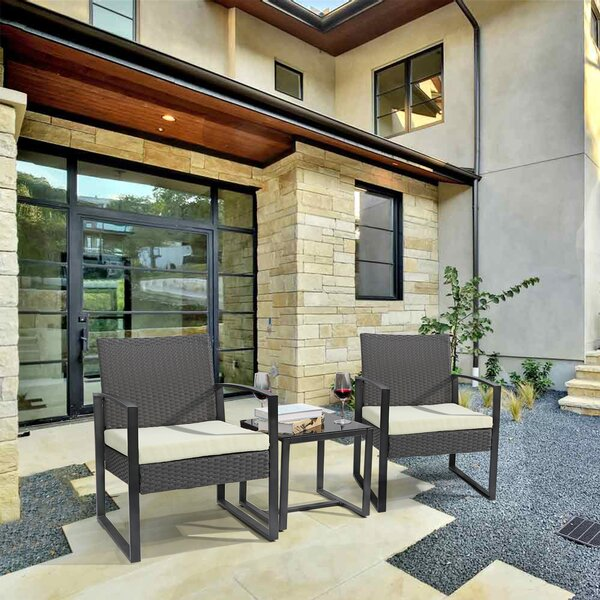 Aerika 3 Piece Rattan Seating Group with Cushions by Latitude Run