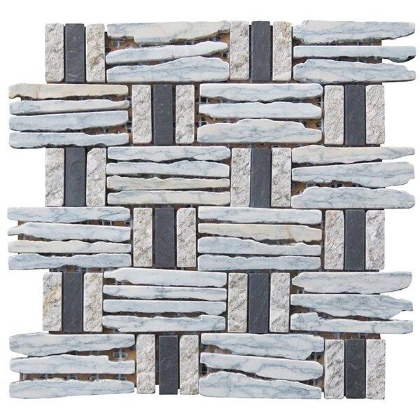 Landscape Wonder 12.5 x 12.5 Basketweave Granite Blend Mosaic Tile in Gray, Black and Black by Intrend Tile