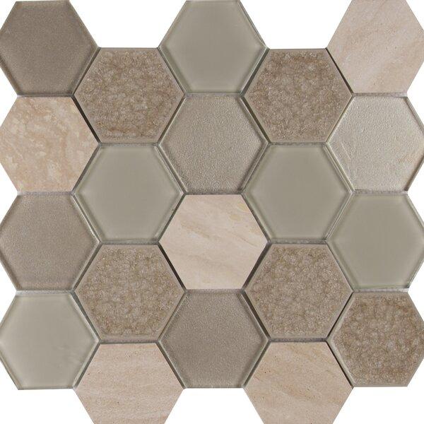 Monterra Blend Hexagon 3 x 3 Glass/Stone Mosaic Tile in Beige by MSI
