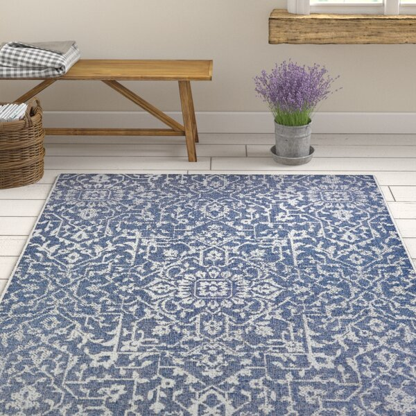 Kraatz Palmette Navy Blue/Ivory Indoor/Outdoor Area Rug by Ophelia & Co.