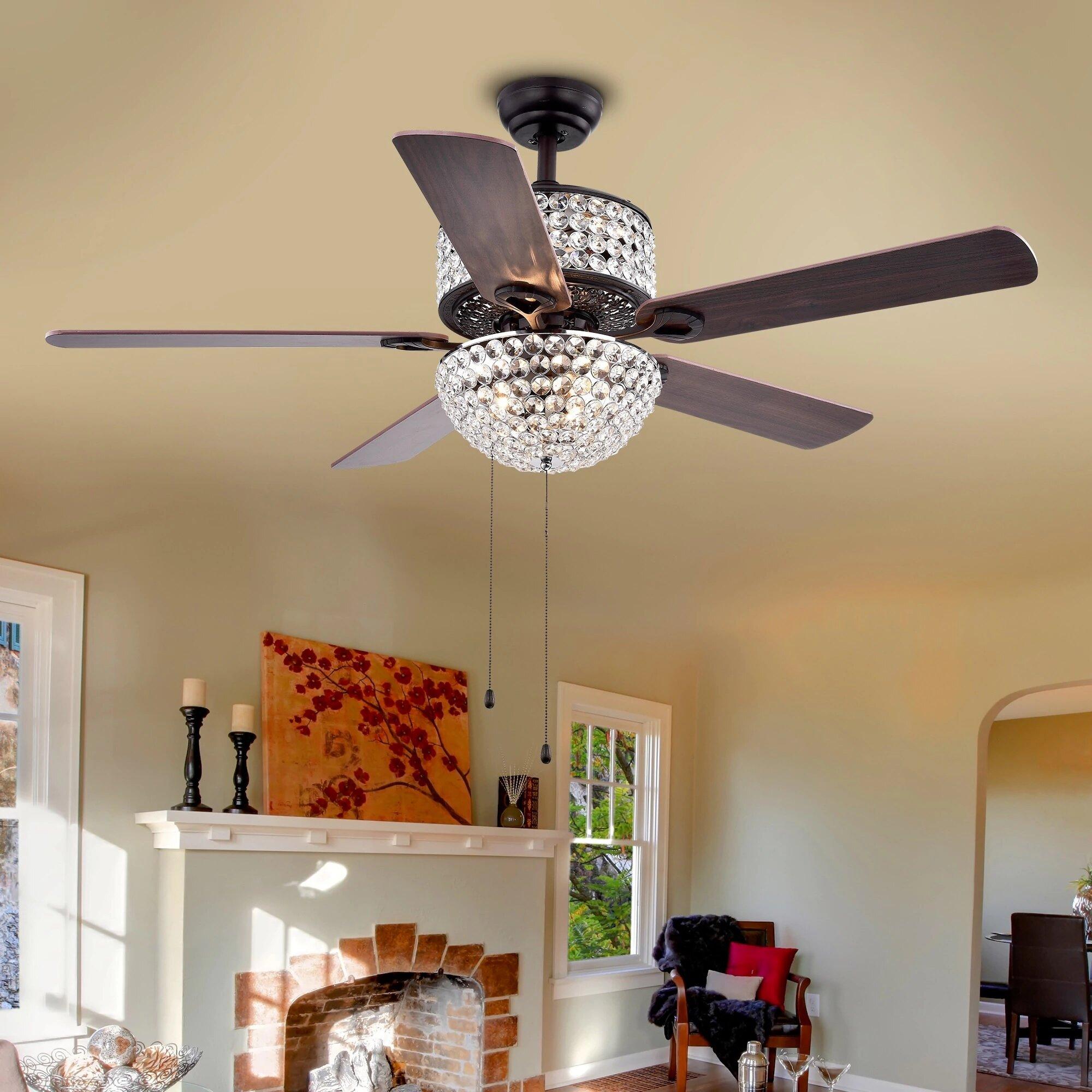 "Warehouse of Tiffany 52"" 5 Blade Laure Crystal 6 Light Ceiling Fan"