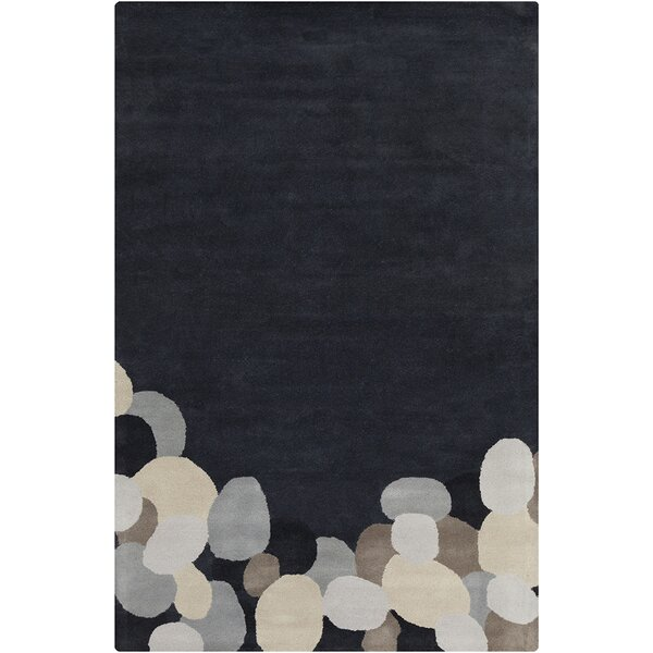 Willa Hand Tufted Wool Dark Gray/Black Area Rug by Corrigan Studio