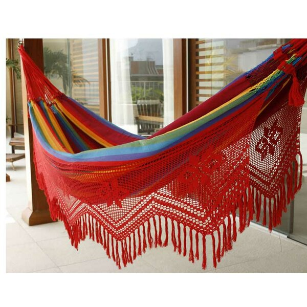 Double Person Fair Trade Festive Icarai Rainbow' Hand-Woven Brazilian Sustainable Cotton with Crocheted Fringes Indoor And Outdoor Hammock by Novica