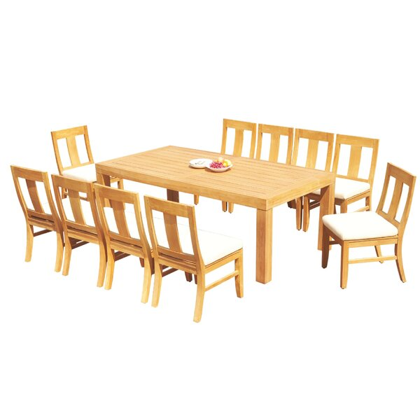 LosPalmos 11 Piece Teak Dining Set by Rosecliff Heights