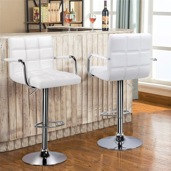 Hardiman Adjustable Height Swivel Bar Stool (Set of 2) by Orren Ellis