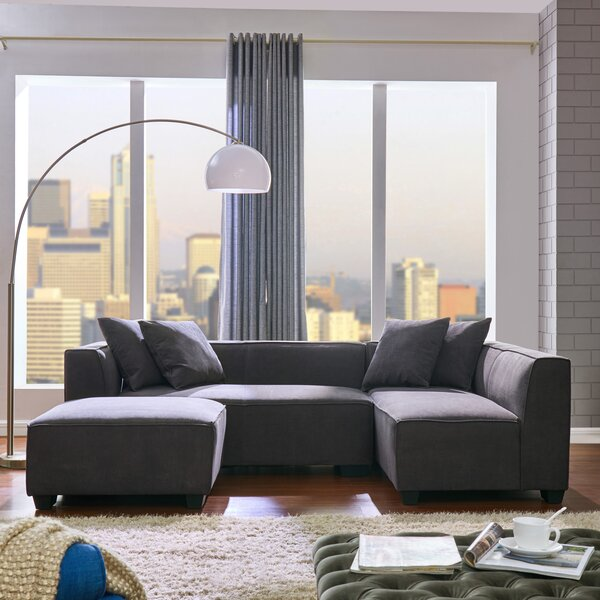 Daria Right Hand Facing Modular Sectional with Ottoman by Modern Rustic Interiors