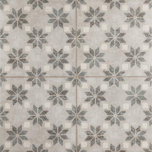 Cementine 16 x 16 Ceramic Field Tile in Antique Stelle by Interceramic