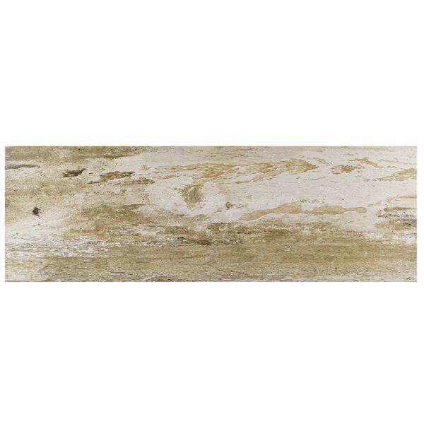 Alcazar 7.88 x 23.63 Ceramic Wood Look Tile in Matte Brown/Beige by EliteTile