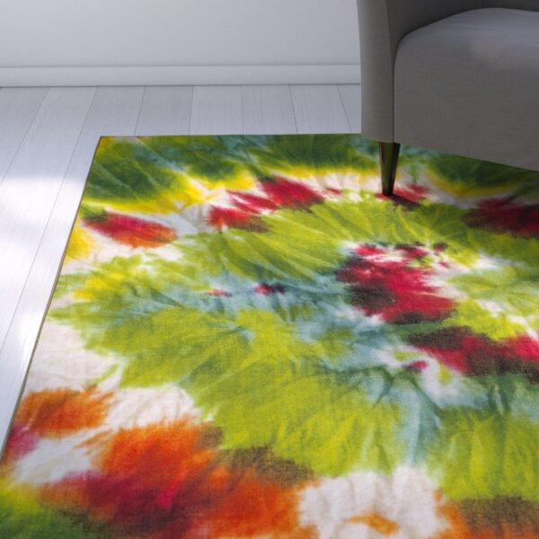 Dawna Paint Brush Green/orange Area Rug By Ebern Designs.