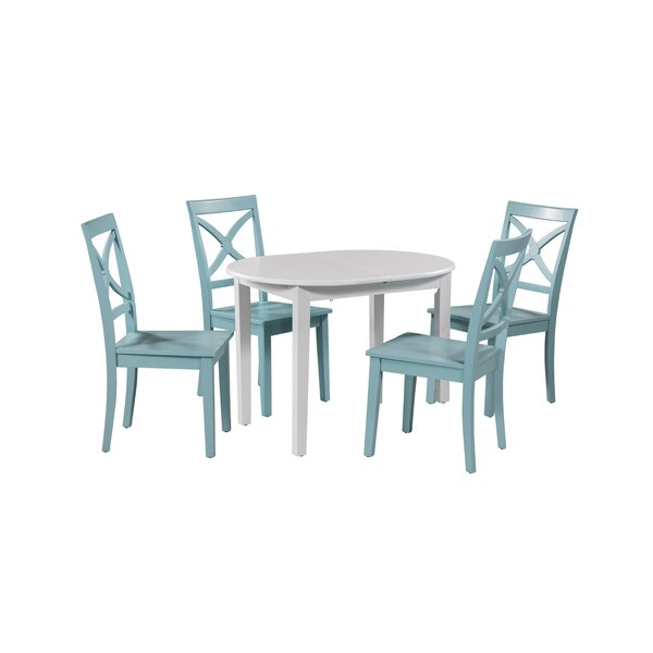 Leslie 5 Piece Extendable Solid Wood Dining Set By Highland Dunes No Copoun