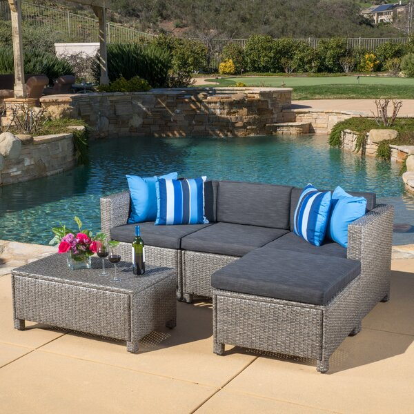 Furst 5 Piece Sectional Seating Group with Cushions Wade Logan W001650541