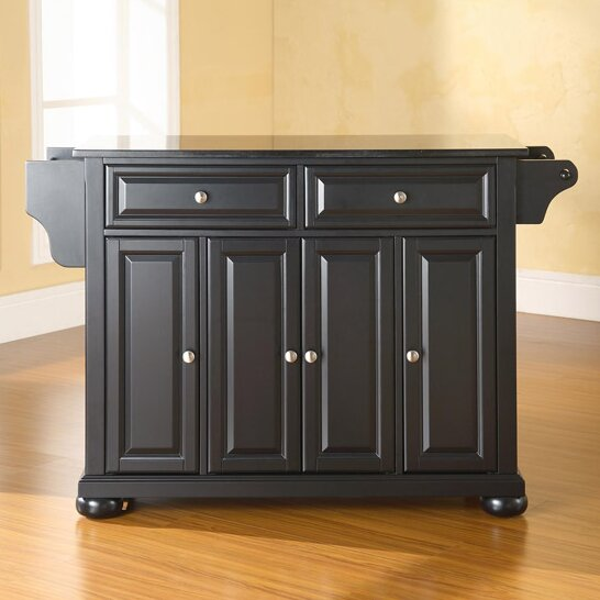Hedon Kitchen Island with Black Granite Top by Three Posts