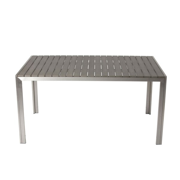 Latham Sleek and Modish Trendy Anodized Aluminum Dining Table by Orren Ellis