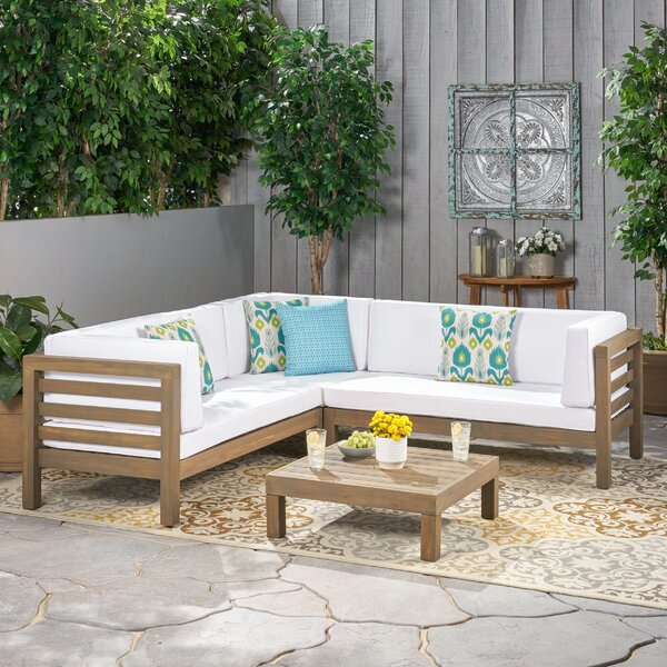 Seaham 4 Piece Sectional Seating Group With Cushions By Brayden Studio by Brayden Studio Purchase