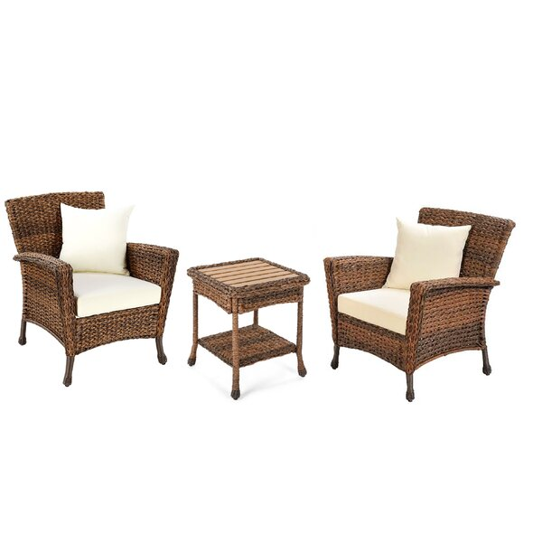 Rutkowski Garden Patio 3 Piece Seating Group with Cushions by August Grove
