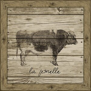 Cow (Wood Planks) Framed Graphic Art by Melissa Van Hise