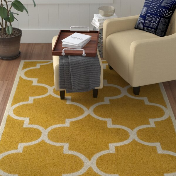 Alfson Hand-Tufted Gold/Ivory Area Rug by Winston Porter