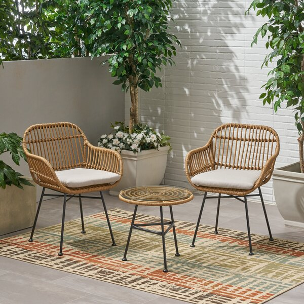 Bushnell 3 Piece Rattan Seating Group with Cushions by Bay Isle Home