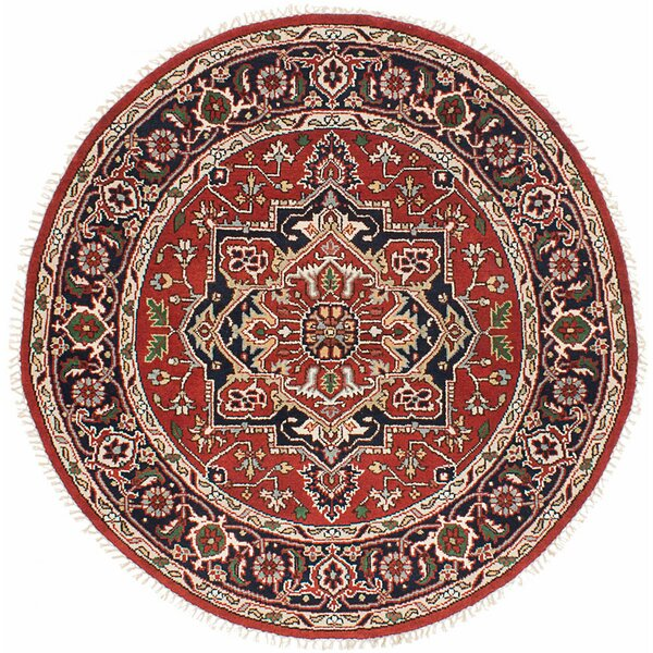 One-of-a-Kind Doerr Hand-Knotted Round Dark Burgundy Wool Area Rug by Isabelline