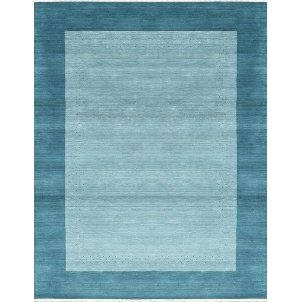 One-of-a-Kind Gabbeh Hand-Knotted Wool Aqua Area Rug by Bokara Rug Co., Inc.