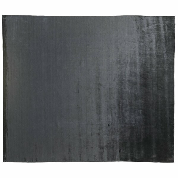 One-of-a-Kind Hand-Knotted Steel Grey 11' x 13' Viscose Area Rug