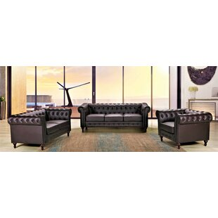 Fedele 3 Piece Faux Leather Living Room Set by House of Hampton®