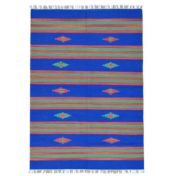 One-of-a-Kind Totterdown Flat Weave Killim Hand-Knotted Cotton Blue Area Rug by Millwood Pines