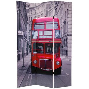 Double Decker Bus 3 Panel Room Divider by East Urban Home