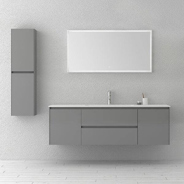 Bakonyi 63 Wall-Mounted Single Bathroom Vanity Set with Mirror