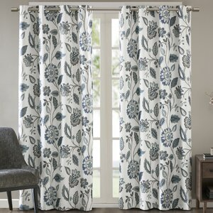 Attell Nature/Floral Room Darkening Thermal Grommet Single Curtain Panel