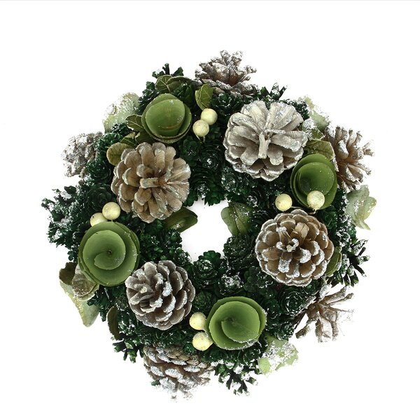 Pine Cone and Rose Artificial Christmas Wreath by Northlight Seasonal