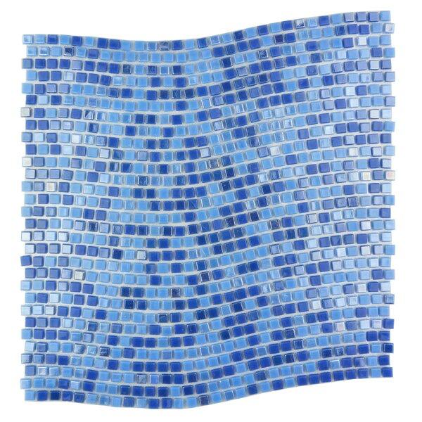 Galaxy Wavy 0.31 x 0.31 Glass Mosaic Tile in Glazed Blue by Abolos
