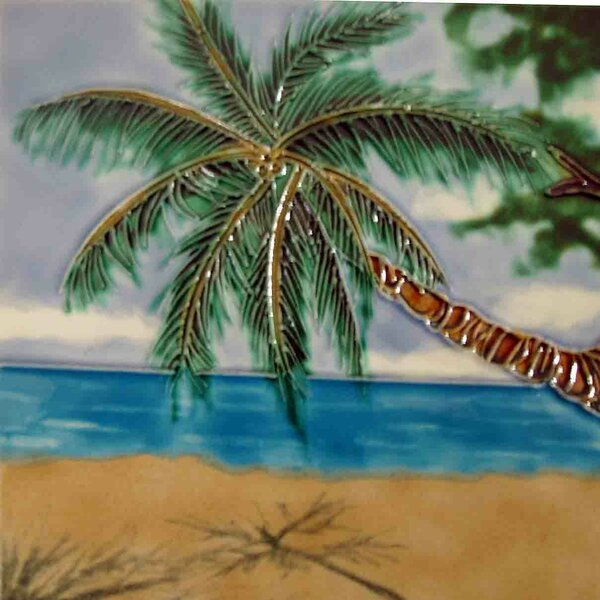 Tropical Palm Beach Tile Wall Decor by Continental Art Center