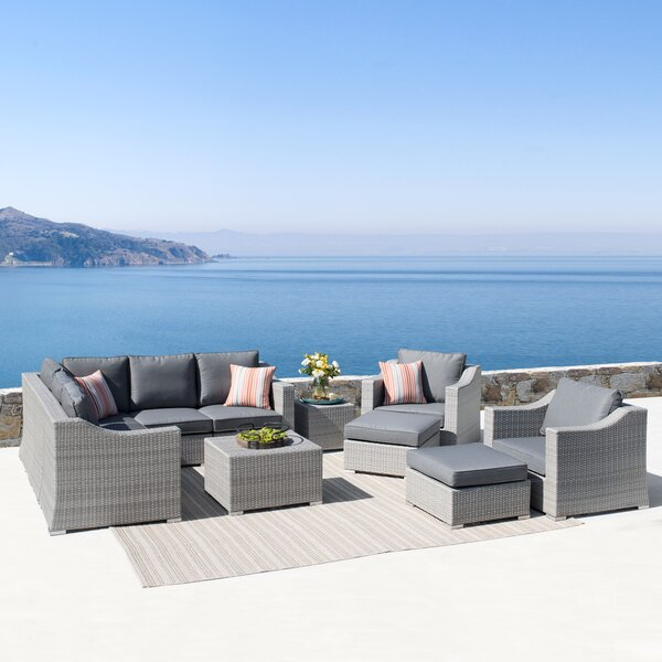 Hugh 11 Piece Rattan Sectional Seating Group with Cushions by Rosecliff Heights