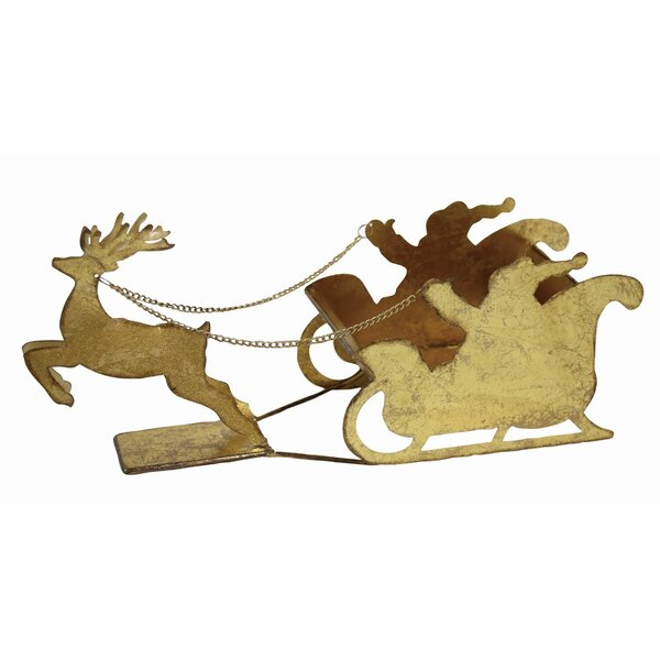 Metal Reindeer and Sleigh Figurine by The Holiday Aisle