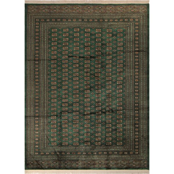 One-of-a-Kind Abril Hand-Knotted Wool Green/Gold Area Rug by Isabelline