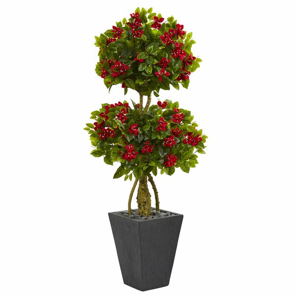 Double Artificial Floor Bougainvillea Topiary in Planter by Orren Ellis