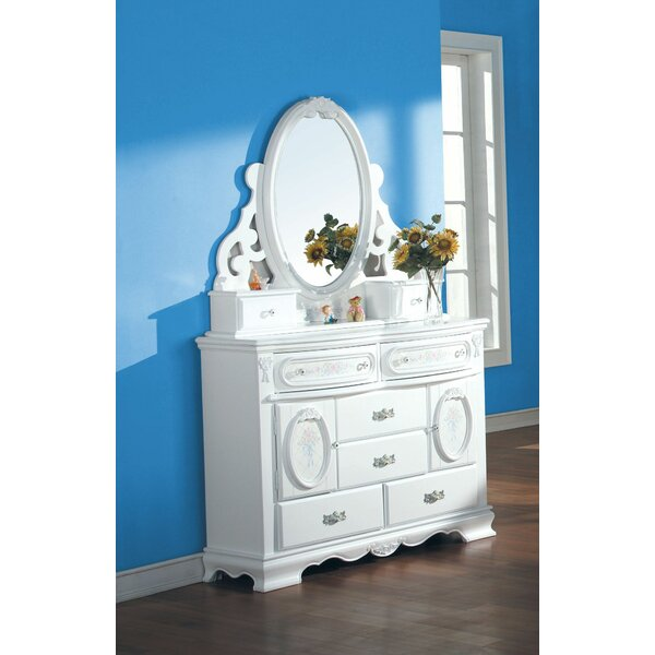 Egbert 8 Drawer Combo Dresser with Mirror by Harriet Bee