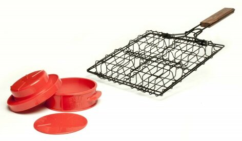 2 Piece BBQ Basket and Press Set by Charcoal Compa