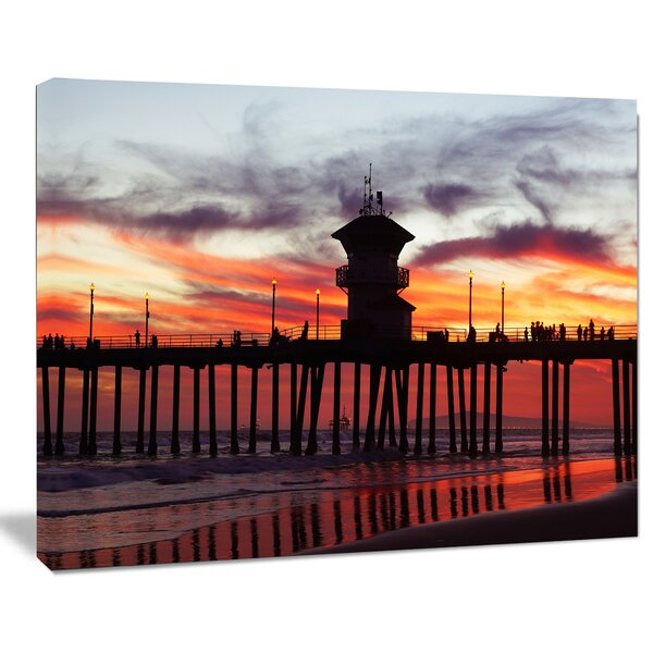 Pier California at Sunset with Clouds Photographic Print on Wrapped Canvas by Design Art