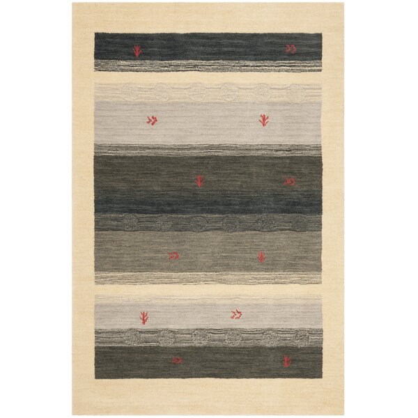Labbe Hand-Woven Wool Cream/Gray Area Rug by Union Rustic