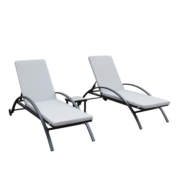 Lechner Reclining 3 Piece Chaise Lounge Set with Cushions by Wrought Studio