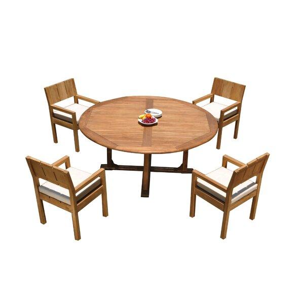 Keagan 5 Piece Teak Dining Set by Rosecliff Heights