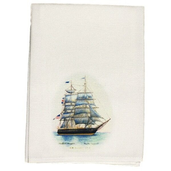 Coastal Whaling Ship Hand Towel (Set of 2) by Betsy Drake Interiors