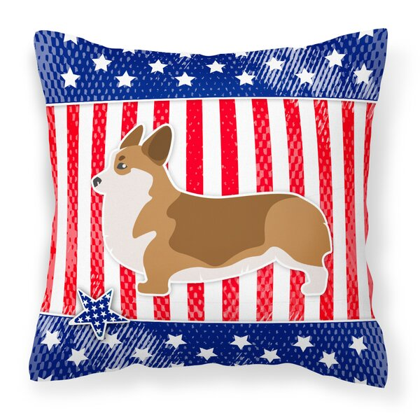 Patriotic USA Corgi Indoor/Outdoor Throw Pillow by The Holiday Aisle